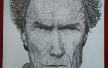 Portrait de Clint Eastwood, dessiné par Marius
